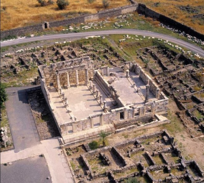 aerial view of capernaum synagogue