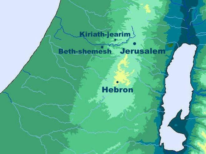 beth-shemesh, kiriath-jearim, jerusalem, hebron