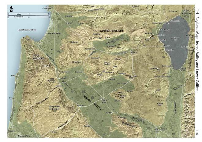jezreel valley and lower galilee map