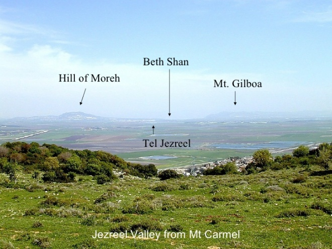 jezreel valley from mount carmel, with hill of morech, beth shan and mount gilboa labelled