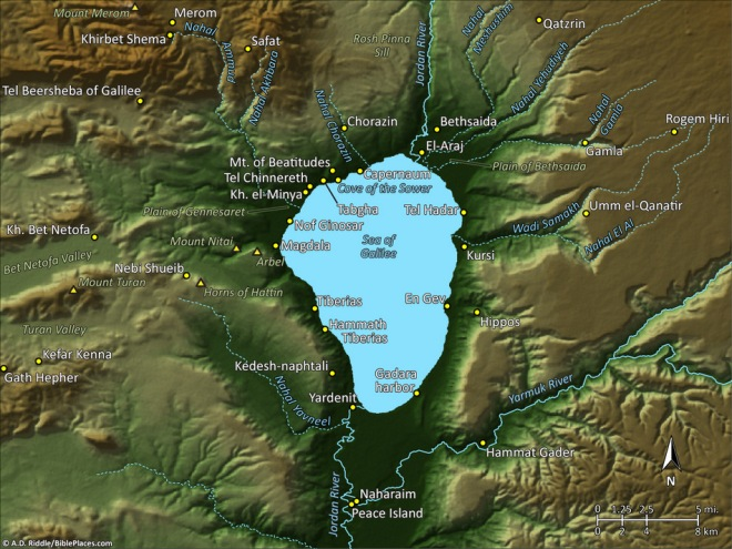 sea of galilee map, a. d. riddle