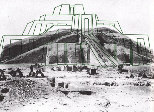 the anu ziggurat at uruk, with former height superimposed