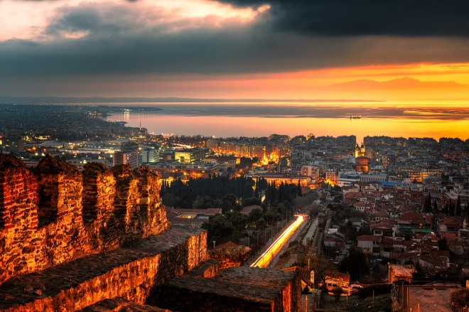 thessaloniki sunset from eptapyrgio castle, sumfinity