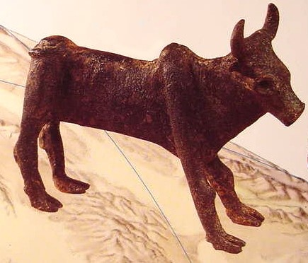 This ancient bronze bull figurine may have been covered in gold leaf